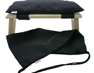 Meditation Stool/Bench Seiza + Cushion + Bag ,Organic Kapok Filled,folding legs, British Alder wood, handcrafted, 48 x 17 cm, Carry Bag size 61 x 31 cm