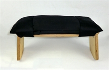 Meditation Stool Cushion , Black Gabardine ,Organic Kapok Filled